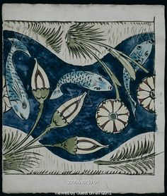 Fish and Lilies tile by William De Morgan. Life-long friend of William Morris William De Morgan was an exceptional potter and designer. His tiles are of particular importance as many of his images continue to influence fabric and other textile design Fleurs Art Nouveau, Image Nice, William Morris Art, Fish Patterns, Needlepoint Canvases, Arts And Crafts Movement, Decorative Tile, Tile Art, Tile Painting