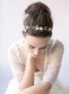 Beaded gold blossom hair vine - Style # 409 - Silver Ready to Ship (2014, hair adornments, hair vine, hair vines, headbands, headpieces, rea...