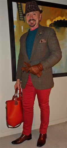 Brooks Bros. tweed jacket, Topman sweater & tee, Kill City jeans, Nardelli leather tote, Stacy Adams boots...
