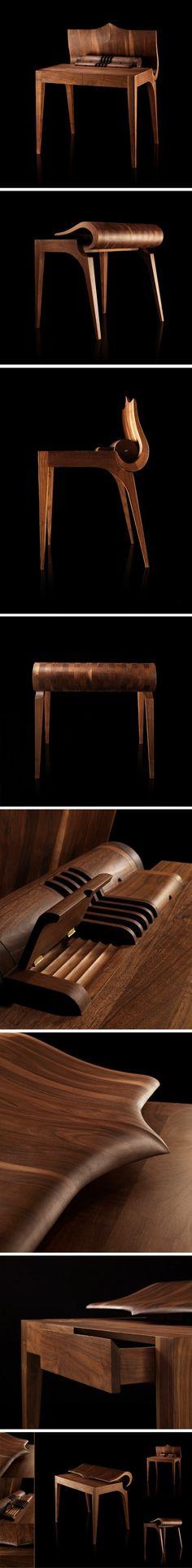 Art Nouveau inspired walnut desk