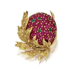 18 Karat Gold, Ruby and Emerald Brooch, Schlumberger for Tiffany & Co., France.