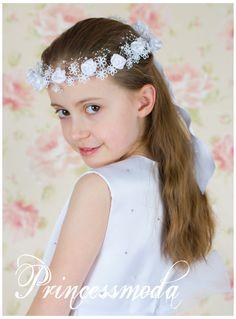 Nr.9 Kopfschmuck für Kommnunion - Haarschmuck Kranz WEISS - Princessmoda - Alles für Taufe Kommunion und festliche Anlässe