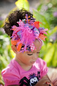 Sassy Spider Halloween Over The Top Hair Bow-