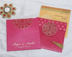 Indian wedding invitation in pink with designer motifs Hindu Wedding Cards, Indian Wedding Invitation Cards, Indian Wedding Invitations, Wedding Stationery, Traditional Design, Pattern, Pink, Patterns, Model
