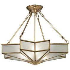 Glass Star Antique Brass Pendant Light