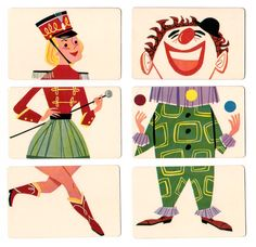 """Ed-u-Card's  1956 """"Mixies""""  is a fun puzzle style card game where you piece together 3 cards to form a single circus figure or animal (or fo..."""