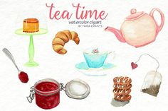 Watercolor Clip Art - Tea Time  by Maria B. Paints on @creativemarket