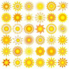 Sun Symbols Collection Vector