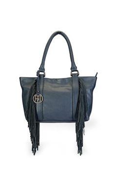 Navy Blue Leather Bag #leather #fringe #hand-bag #shoulder-bag #casual #day #brunch #lunch #office-bag