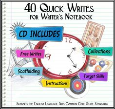 40 Quick Writes for Writer's Notebook can be printed as an entire program or each lesson on the CD can be  displayed individually. 10 Progressive ELA Core Standards are scaffolded. High interest for kids; no preparation for teachers (priced item) Video Demo: http://www.youtube.com/watch?v=SIP6nrHytVM=plcp