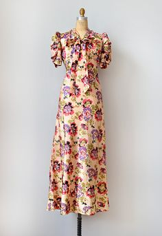 1930s silk floral dress