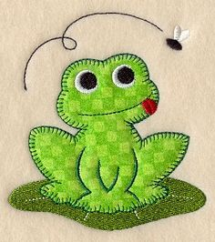 frog - fabric postcard idea