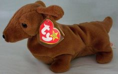 """1995 Ty Beanie Babies """"Weenie"""" The Daschshund With Tags and Protector #Ty"""
