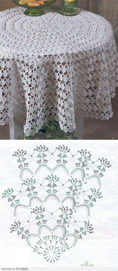 DIY - zrób to sam - serweta / obrus na szydełku Nape Crochet, Col Crochet, Crochet Stitches Patterns, Crochet Home, Thread Crochet, Filet Crochet, Crochet Designs, Crochet Round, Crochet Tablecloth Pattern