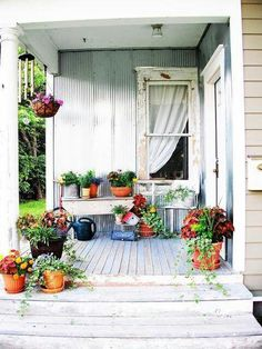 love the galvanized wall for the back porch