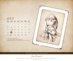 """The July edition of our digital calendar-wallpaper can now be downloaded by all our Patrons and it features our wee drawing of """"The Monsters of Loch Ness"""".   #patronsofthepicsees  #wallpapercalendar  #monstersoflochness Calendar Wallpaper, Desktop Calendar, Full Moon, Digital, Boss, Harvest Moon, Blue Moon"""