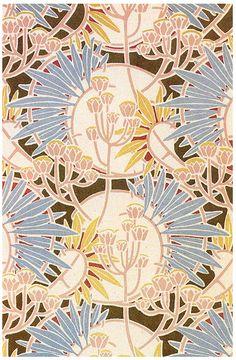 Art Nouveau Designs by R. Beauclair on Sensory Level Motifs Textiles, Textile Patterns, Textile Prints, Print Patterns, Art Nouveau Pattern, Art Nouveau Design, Surface Pattern Design, Pattern Art, Green Pattern