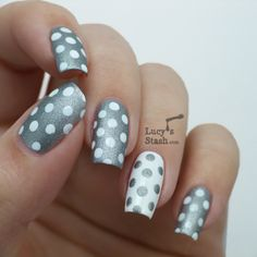 silver and white with dots