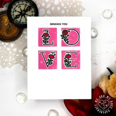 Sending You Love Alphabet Stamps, Altenew, Happy Day, I Card, Stencils, About Me Blog, Love, Think, Floral