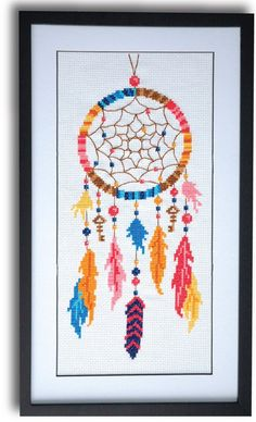 A fun, bright dreamcatcher cross stitch pattern depicting feathers, beads, and keys. This pattern arrives as an Instant Download!A few minutes after your paymen