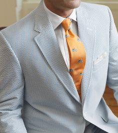 Dapper Male Fashion| Serafini Amelia| Summer Suit-Seersucker Suit -Orange Tie