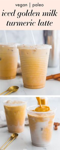 This iced golden milk turmeric latte is paleo and vegan loaded with anti-inflammatory turmeric and other ancient healing spices. It comes together so quickly and is naturally sweetened super refreshing and perfect for warmer weather. This iced golden Yummy Drinks, Healthy Drinks, Healthy Snacks, Yummy Food, Healthy Recipes, Healthy Nutrition, Tasty, Nutrition Apps, Healthy Milk