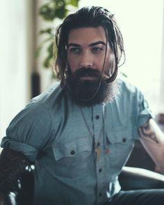 Lane Toran - full thick dark beard mustache beards bearded man men mens' style tattoos tattooed long hair bearding so handsome #beardsforever