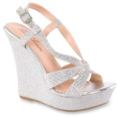 Lauren Lorraine Silver Nika Wedge Sandal - Women's ($99) ❤ liked on Polyvore featuring shoes, sandals, silver, silver wedge shoes, silver wedge sandals, wedges shoes, silver peep toe shoes and strappy wedge sandals