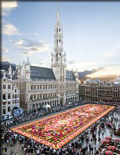 Brussels, Belgium international flower holiday includes a huge carpet of flowers.