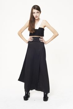 Black crop top , grow grain  straps , which silk harem skirt/pants
