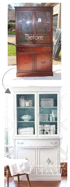 Thrift Store China Cabinet Makeover. Give your old cabinet a new shabby chic look with some paint and hardwares! #shabbychicfurniturediy #shabbychiccabinets