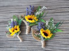 Handcrafted wedding boutonnieres for your most special day. This gorgeous flower wedding boutonnieres consist of cute sunflowers, green leaves,