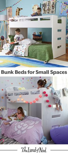 We've created a kids bunk bed with more space-saving capabilities than ever before. Our Abridged Bunk Bed features a smaller profile and is really a loft bed and rolling twin bed combo (and includes stairs, too). It'll feel right at home in a girl or boy's bedroom.