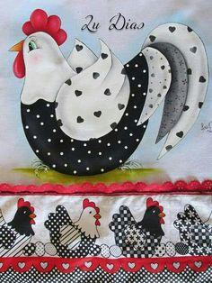 Wool Applique, Applique Patterns, Applique Quilts, Applique Designs, Quilt Patterns, Chicken Crafts, Chicken Art, Tole Painting, Fabric Painting