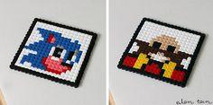 Les perles Hama en mode retro-gaming sous verre sonic sega