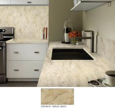 I decorated using My Room Designer from DuPont. Corian® Burled Beach has a light neutral golden base, with veining of varying shades of antique brass and a mingling of a wide size range of tone-on-tone and translucent particles that create a natural earthy and rustic effect.