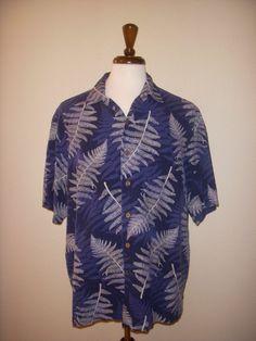 Caribbean Navy Blue Silk Linen Blend Tropical Fern Hawaiian Aloha Camp Shirt XL