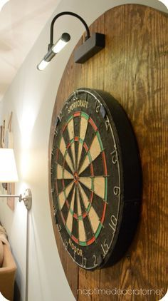 DIY dartboard project made with an old cable reel