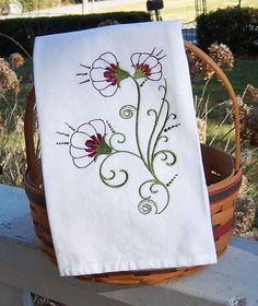 Embroidered Tea Towel/Kitchen Dish Towel Fancy Valerian Flowers. $11.00, via Etsy.
