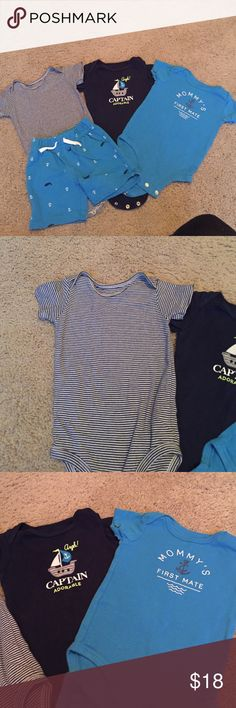 Nautical Onesie and Short set So cute and comes with three outfits! The Striped Onesie is 12 months and the Shorts and graphic onesies are 9 months Carter's Matching Sets