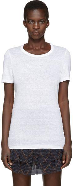Short sleeve linen t-shirt in white. Rib knit crewneck collar. Tonal stitching.