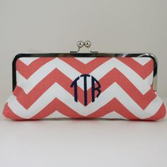 "Monogrammed Coral Chevron Clutch via Etsy ""Southern Beaus"" Clutch Purse, Coin Purse, Coral Chevron, Necklaces, Bracelets, Seersucker, Monograms, Purses And Bags, Jewelry Accessories"