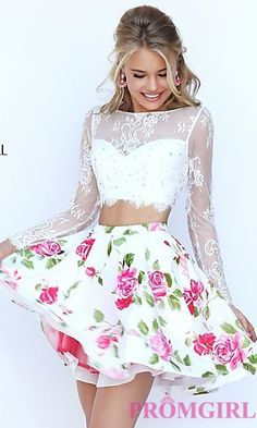 Lace Long Sleeve Short Print Sherri Hill Dress at PromGirl.com