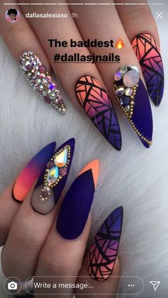 In search for some nail designs and ideas for your nails? Listed here is our list of 34 must-try coffin acrylic nails for trendy women. Crazy Nails, Dope Nails, Fun Nails, Crazy Nail Art, Fabulous Nails, Gorgeous Nails, Pretty Nails, Orange Nail Designs, Nail Art Designs