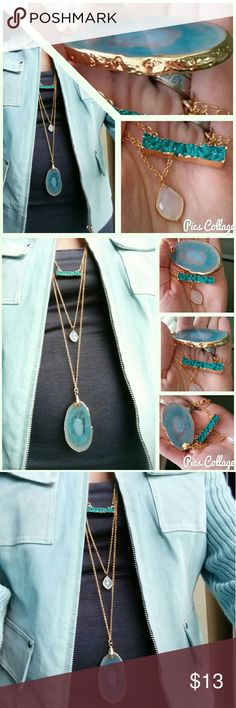 """Long Gold & Teal Fashion Necklace Fashion necklace with triple chains/pendants, about 26""""L + extender chain. Faux druzy & agate style stones. Very chic and classy! BNWOT! Feel free to ask any Q's! Jewelry Necklaces"""