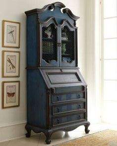 Gorgeous painted Secretary. Could do this in American Paint Company Born on the 4th of July and Lincoln's Hat.