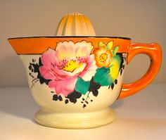 Vintage Japanese Lusterware Two Piece Juicer in a Tangerine Orange      From borahstyle
