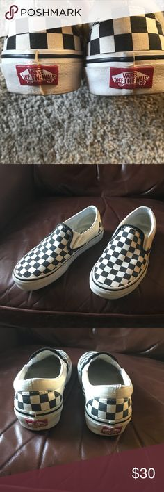 Classic Checker Vans Black/ White checkered Vans. Fabric around ankle is cream  Worn less than a handful of short intervals  No rips or stains on checkered pattern  A little bit of use is shown around ankles, should come off with cleaning  Willing to sell to serious buyers for $24, just let me know so I can drop price and hopefully get you 3.99 shipping Vans Shoes
