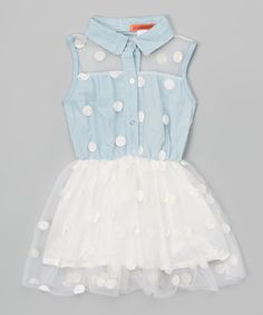 Another great find on #zulily! Funkyberry Blue Polka Dot Shirt Dress - Toddler & Girls by Funkyberry #zulilyfinds