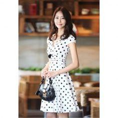 $14.06 Sweet Chiffon V-neck Polka Dot Short Sleeve Dress for Women